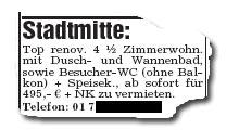 Stadtmitte: Top renov. 4 1/2 Zimmerwohn. mit Dusch- und Wannenbad, sowie Besucher-WC (ohne Balkon) + Speisek., ab sofort für 495,- € + NK zu vermieten. Telefon: [...]