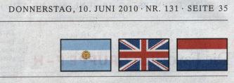 Flaggen: Argentinien, Großbritannien und Niederlande