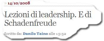 »Lezioni di leadership. E di Schadenfreude« - (Und beachten Sie auch den Cartoon!)