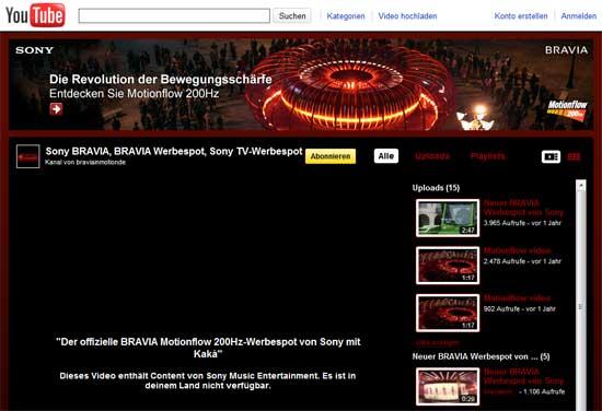 Sony BRAVIA, BRAVIA Werbespot, Sony TV-Werbespot